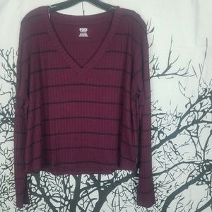 {NWT} PINK | Maroon-Black Long Sleeve Cropped Tee